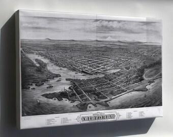 Canvas 16x24; Map Of Victoria, Vancouver Island Canada 1878