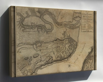 Canvas 16x24; Map Of Siege Of Quebec Canada American Revolution