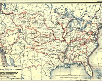 16x24 Poster; Map Of United States Of America Exploration From 1501 To 1844