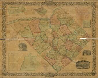 16x24 Poster; Map Of Berks County, Pennsylvania 1854