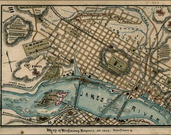 16x24 Poster; Map Of Richmond, Virginia 1863