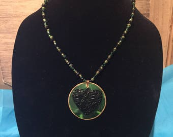 Necklace, Green and Black, Heart, Beaded
