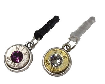 40 Cal Cell Phone Charm with Dust Plug and your choice of Swarovski Crystal