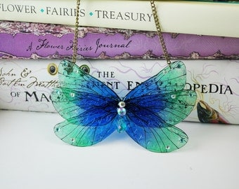 Royal Blue and Green Butterfly - Gossamer Fairy/Faerie Butterfly Cicada Wing Statement Necklace