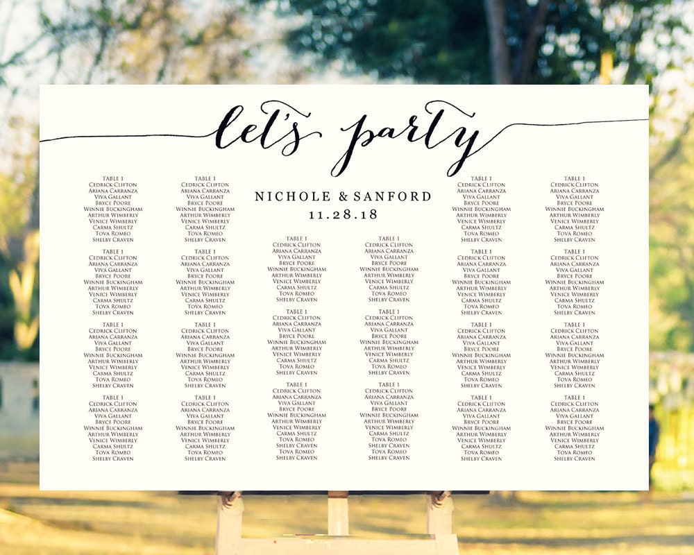 let u0026 39 s party wedding seating chart template in four sizes