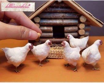 OOAK Realistic Miniature 1:12th Scale Standing Chicken Hen *1 pc Dollhouse Farm