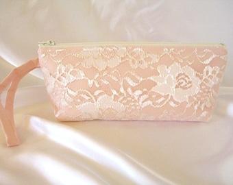 Peach Satin Clutch - Peach Wristlet Clutch - Wedding Clutch - Ivory Lace Clutch - Bridesmaid Clutch - Ivory Wristlet - Peach Prom Clutch