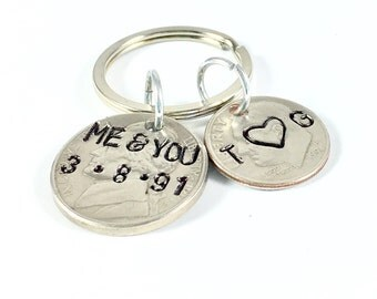 15th anniversary gift for him, 15 year anniversary gift for her, 15 year wedding anniversary, Couples keychain, You and me
