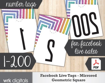 Facebook Live Sale Number Tags, Mirrored Image 1-200, Fashion Consultant, Geometric Square Design, INSTANT DOWNLOAD