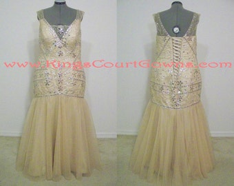 Replica Great Gatsby Style Heavily Beaded Champagne Tulle Trumpet Wedding Pageant Prom Evening Dress Gown with Corset Back
