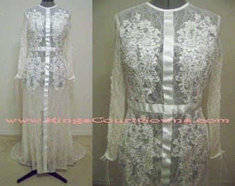 Replica Sheer Sexy Unique High Neck Keyhole Back Long Sleeve Court Train Lace Wedding Dress Gown with Corset Lace-up Sleeves