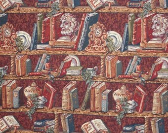Fabric Vintage Book case scenery, Heavy Tapestry Fabric, For Upholstery, Cushions, Throw pillow, Runners, Table Cloth, Picture Frame,