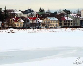 Landscape print, village photograph, Icelandic houses, folk art print, minimalist, fine art photography, framed print, snow, winter, mounted