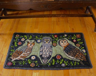Owl Hand Hooked Rug Artist designed and created wool hand made one of a kind and original