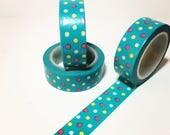 Beautiful Auqamarine Washi Tape, Colorful Polka Dots, Spring and Easter Washi Tape
