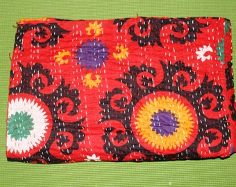 """Handmade patchwork red  kantha  throw ,cotton Quilts ,gudri ,Reversible bedcover 60""""x90'' inch,Vintage Indian cotton bedsheet or Blanket"""