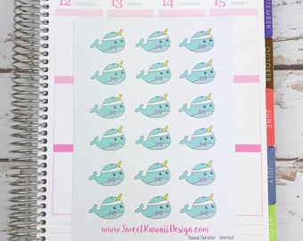 Kawaii Narwhal Stickers - Workout