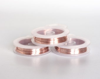 2435_Pink gold wire 20 gauge, Gold jewelry wire 0.8 mm, Golden craft wire, Rose gold wire, Copper wire, Craft wire, Gold copper wire_6 m.