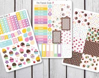 Cupcake Weekly Kit Planner Stickers Designed for Erin Condren Life Planner Vertical