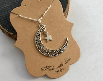 Silver moon and star necklace-Phish Farmhouse necklace -Crescent necklace-Christmas gifts -Christmas stocking stuffers