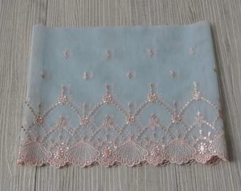 "soft lace Fabric one yard blue pink 7"""