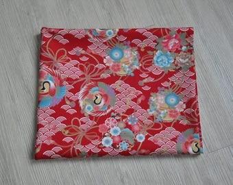 Japan kimono yukata chinese cheongsam crane flower red Fabric 1/2 yard