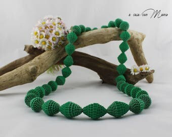 Collana lunga con perle di carta long necklace verde pearl paper perle di cartoncino ondulato gioielli per donna gioielli africani per lei