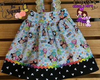 Handmade Character Dress- Boutique Dress-Tsum Tsum Girls Hatties Style Dress