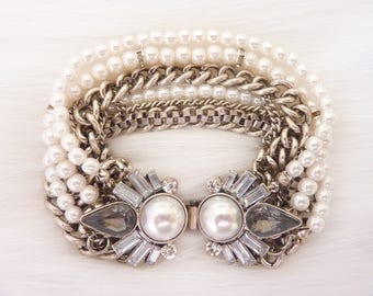 Pearl Bracelet Art Deco Bracelet Great Gatsby Art Nouveau Wedding Bridal Vintage Bracelet Jewelry Downton Downtown Abbey Multi Chain Link