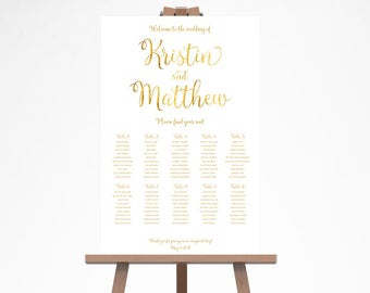 Gold Wedding Seating Chart, Faux Gold Foil Wedding Seating Chart Poster, Gold Wedding Seating Chart Board, Wedding Seating Chart GFWF