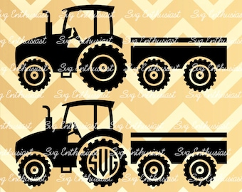 Farm Truck with Trailer Silhouette SVG, Truck Monogram frame SVG, Tractor SVG, Vehicle Svg, Truck Cut file, Eps, Dxf, Cricut, Cut files