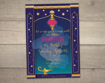 Arabian Nights Invitation, Arabian Nights Party, Arabian Nights Birthday, Magic Lamp invitation -with FREE Thank you card. Digital File
