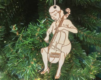 Cellist 3 Personalized Christmas Ornament