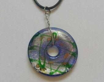 Donut pendant, green pendant, green beads, blue beads, blue pendant, glass pendant,  glass donut, gold pendant, gold beads