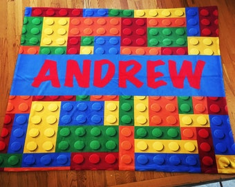 SALE Personalize Lego Blanket Monogram Lego Blanket Boy Blanket Kindergarden Blanket Big Kid Blanket