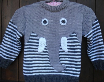 sweater pattern hand knitted cotton elephant child