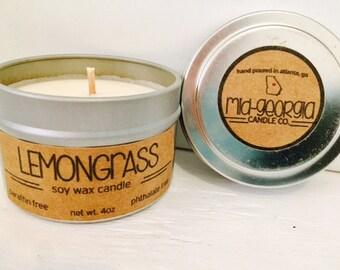 Lemongrass Soy Candle Tin 4oz.