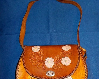 Vintage Leather Purse, Hand Tooled, Hand Made, USED,  Smooth Saddle Leather