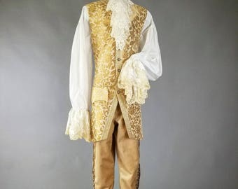 18th Century Men's Costume, Masquerade Costume, Long Waistcoat, Lace Shirt, Jabot, Breeches, 18th Century Clothing,Rococo,Masquerade Costume
