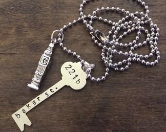 Sherlock 221b Baker Street key necklace