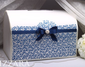 Card Box Navy Blue Wedding Color HAND Painted Money Box Gift Wedding Card  Holder Card