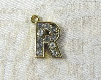 """Gold Rhinestone Letter """"R"""" Charm, 1 or 5 letters per package ALF022r-GL"""