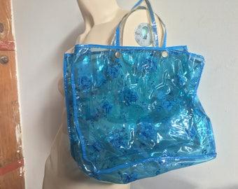Clear Blue PVC Rose Print Handbag