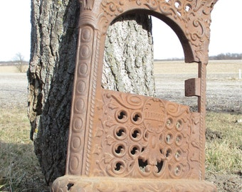Charter Oak Wood Stove Cast Iron Ornate Floor Grate Fireplace Screen Vintage c