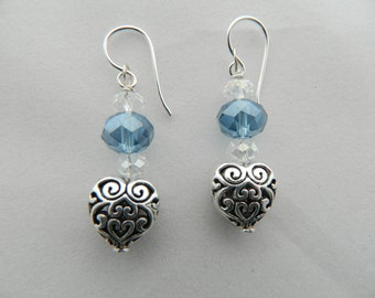 Blue Crystal and Silver Heart Earrings