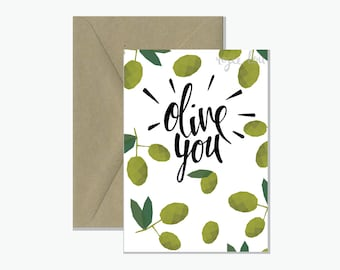 Olive You | Greeting Card |Valentine's Day Card
