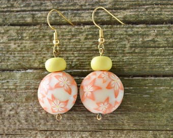 Orange Polymer Clay Floral Dangle Earrings