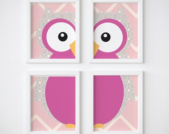 Pink And Gray Owl Print, Set of 4, Owl Wall Art, Owl Wall Decor, Owl Nursery Art, Chevron Nursery Art, Owl Print, Pink Owl Printable, Pink