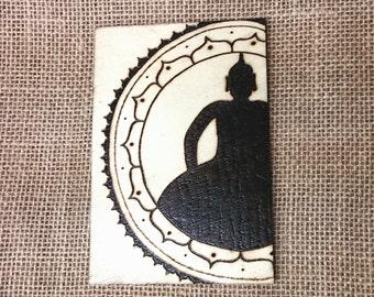 Hand Burned Meditating Buddha Wooden Plaque, Mandala, Henna Design, Zen Decoration, Pyrography, Wood Burning, Yoga, Holiday Gift
