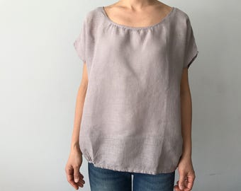 Linen pullover blouse in hazy mauve